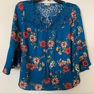 Lily White Floral Bell-Sleeve Blouse